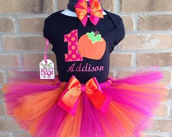Hot pink, orange and Custom Boutique Personalized Birthday Pumpkin Tutu set