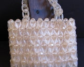 Vintage Beaded Purse,  Evening Bag, Retro Mod Plastic Bead Purse, Prom clutch