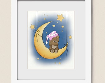 Pink Baby Girls Nursery Wall Art Teddy Bear Print 8 x 10, Moon and Stars, Childrens Art Wall Decor (269)