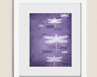 11 x 14 Dragonfly Wall Art Print, Dark Purple Girls Room Decor, Lilac Living Room Art, Nature Artwork (157)