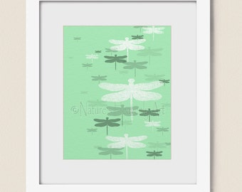 Mint Green Living Room Wall Art Dragonfly Print 8 x 10, Dragonflies Wall Decor for Bedroom or Bathroom  (314)