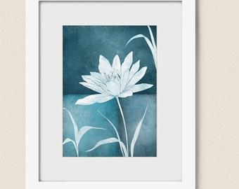 5 x 7 Lotus Art Print Dark Blue Home Decor, Modern Living Room Dining Room Wall Art, Nature Art Print  (168)