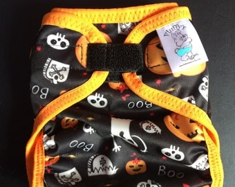 Pumpkins and Ghosts Polyester PUL Cloth Diaper Cover With Aplix Hook & Loop Or Snaps Pick Size XS/Newborn, Small, Medium, Large, or One Size