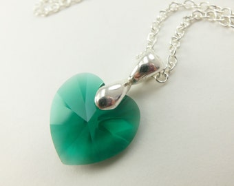 Emerald Heart Necklace Crystal Sterling Silver Irish St Patrick's Day Necklace