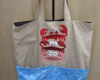 Beach Crab Stack Eco Friendly, Purse, Bag, Beach Bag