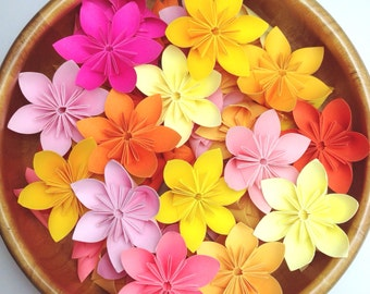 Pink, Orange, and Yellow - Origami Flowers 100pcs + Free Shipping