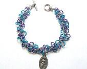 Mermaid bracelet, Blue mermaid jewelry,  Shaggy Loops chainmaille weave