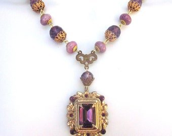 Crystal Assemblage Necklace Wedding Jewelry Purple Rhinestones