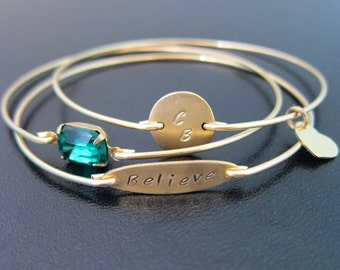 Believe Bracelet, Set of 3 Custom Bangle Bracelets, Believe Jewelry, Stackable Bangles, Custom Bracelet Stack, Personalized Bangle Set