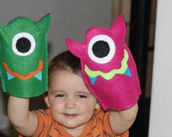 Monster  Birthday Party, Monster Hand Puppett Little Monster party favor