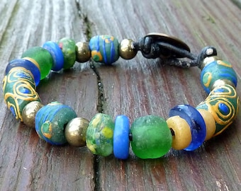Blue Recycled Glass Bracelet - Blue Recycled Glass Beads, Green Recycled Glass Krobo Beads, Black Leather Bracelet
