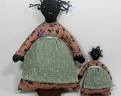 Folk Art Fabric Dolls 1980's Country Home Decor