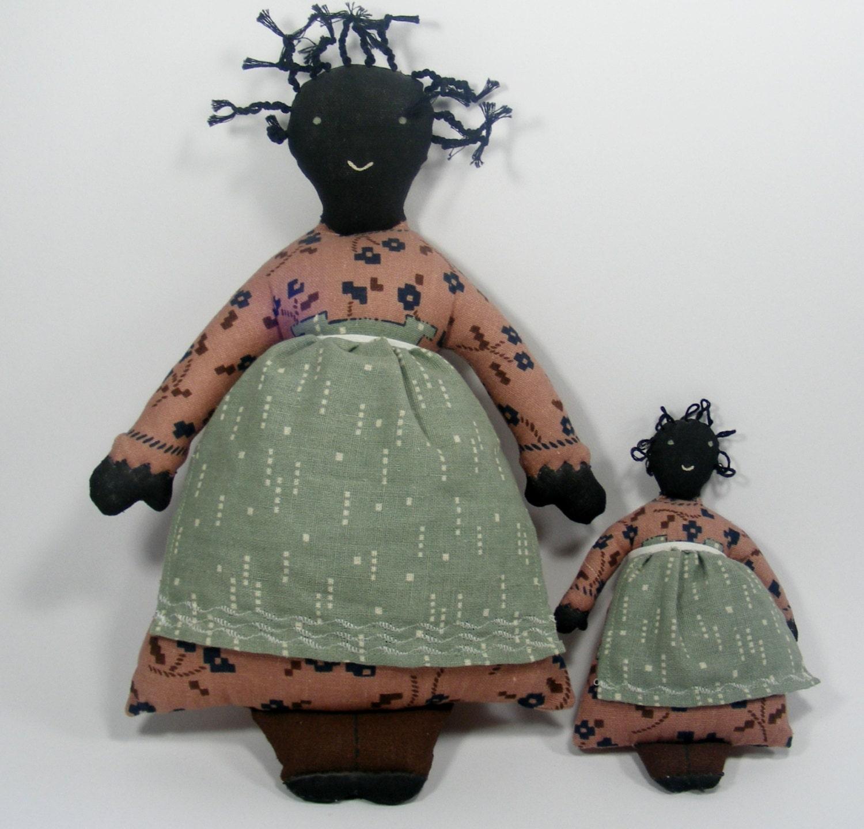 Folk Art Home Decor: Folk Art Fabric Dolls 1980's Country Home Decor