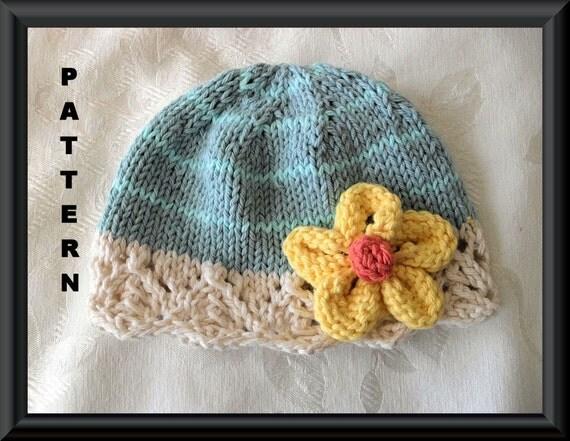 Baby Hat Pattern Knitted Hat Pattern Newborn Hat Pattern Baby Hat with Flower Knit Hat Pattern Newbornm Knitted Hat: DAISY MAIZIE