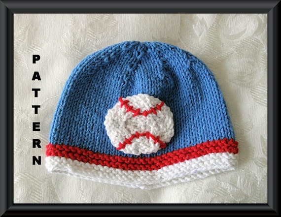 Knitting Pattern For Running Hat : Baseball Baby Hat Knitting Pattern by CottonPickings on Etsy