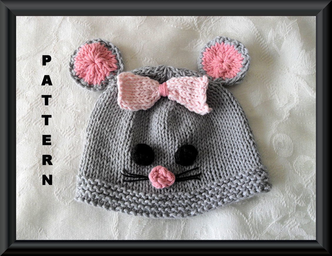 Knitting Pattern Mouse Hat : Baby Mouse Hat Knitting Pattern halloween Baby by CottonPickings