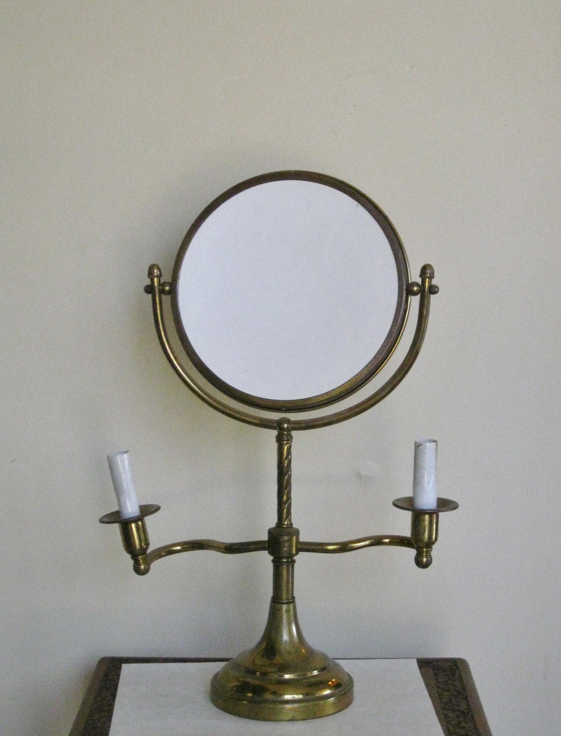 Antique brass vanity shaving mirror electric candleholder for Shaving mirror