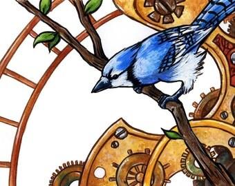 Clockwork Jay | Bird Art | Animal Art | Steampunk Art | 8x10