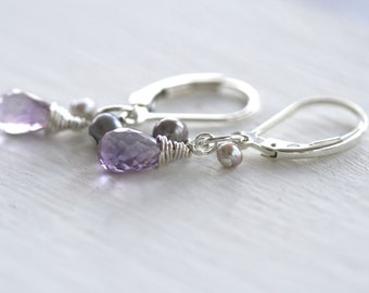 Purple Earrings, Amethyst Earrings, Simple Earrings, Everyday Earrings, Blue Pearl, February Birthstone, Purple Amethyst, Gemstone Earrings