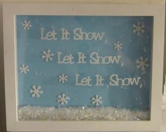 Let It Snow White Shadowbox Decoration