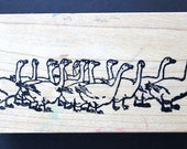 RARE Vintage Wood Mounted Rubber Stamp Gaggle of Geese - by Hero Arts Rubber Stamps LOVINGLY USED - circa 1981
