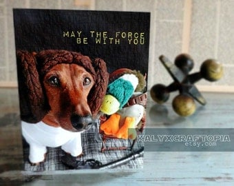 BIRTHDAY Princess Leia Star Wars Dachshund Birthday Card