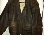 Vintage WWII United States Navy leather bomber jacket.  Size XL.