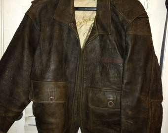 Vintage WWII United States Navy leather bomber jacket.  Size XL.