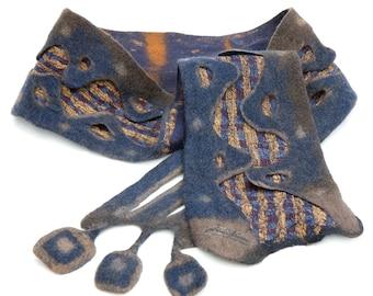 Handmade Felted Scarf Collar Neck Warmer Nuno Felt Women Scarf Pure Wool Silk Scarf Men Scarf