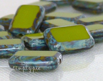 Czech Picasso Beads Avocado Rectangle 12mm 12 Table Cut Glass Beads