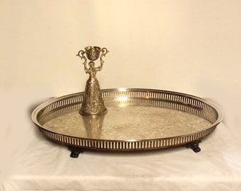 Huge Oval Silver Plate Gallery Tray, Large Silver Serving Tray Sale Price!