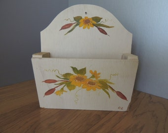 Floral Handpainted Creme Wood Letter Box. Wooden Decorated Container. Painted Mail Wall Holder. Wall Hanging Letter Holder
