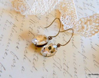 Wedding,VintageGlass, Jewels, Old Hollywood,Earrings-Bridal-Gifts