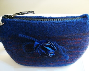 Navy striped wool felted purse with lining and pockets