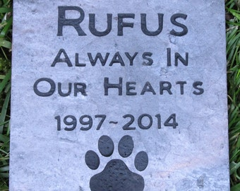 Personalized Dog Pet Memorial Stone Grave Marker 6 X 6 with Dates and Paw Prints Memorial Stone Gravestone Headstone Marker