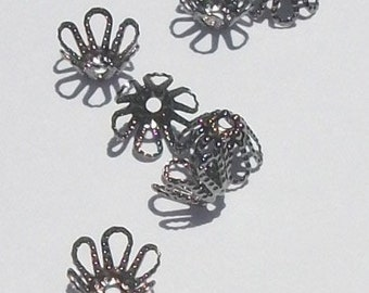 100 Beadcaps, flower, Gunmetal plated brass Filigree Bead Caps 7mm (FX9512GU)
