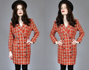 Vtg 1990's RED PLAID Double Breasted Blazer Jacket M L