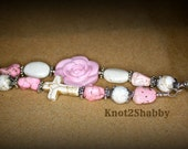 Bracelet Rodeo Cowgirl Chunky Pink Rose with pink and white howlite and crystal beads