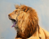 Lion Painting Print Bed Head - Lion, Print of an Oil Painting by L. Merchant, 11x14 inches