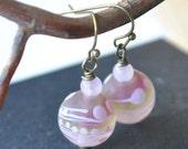 Pink Lampwork Earrings, Abstract Earrings