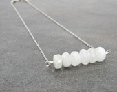 Rainbow Moonstone Necklace, White Statement Minimalist Jewelry Moon Glow Simple Classic Fashion