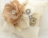 Ring Bearer Pillow, Ivory, Tan, Gold, Beige, Cream, Champagne, Elegant Wedding, Lace, Pearls, Crystals, Brooch, Gatsby, Vintage Style