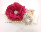 Fuchsia Sash, Ivory, Tan, Beige, Champagne, Dusty Rose, Bridal, Wedding, Jeweled, Brooch, Crystals, Lace, Pearls, Vintage Style, Elegant