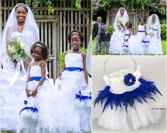 Flower Girl Basket, White, Royal Blue, Grey, Silver, Elegant Wedding, Tutu Basket, Pearls, Crystals, Lace, Tulle, Feathers, Vintage Style