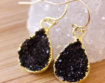 Small Black Druzy Teardrop Earrings - Pear Shape Earrings - Minimalist Jewelry
