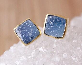 Mini Blue Druzy Studs - Square Studs - Ice Blue, Minimalist Studs