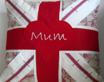 Mother's Day Personalised Union Jack Cushion Pillow Custom Made