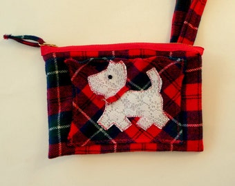 Small Wristlet Purse - Red Tartan Plaid - Scottie - Hand Made - Kilt Wool - Scotland - UNIQUE - OOAK - Recycled - Eco Friendly - Terrier