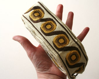 Geometric Vintage Upholstery Trim Cream Yellow and Brown Bold Design