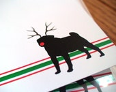Holiday Pug Personalized Stationery - Christmas Dog Silhouette Note Cards - Thank You Notes - Red and Green Stripe Notecards - Set of 10